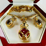 SIGNED JOAN RIVERS RED CABOCHON GOLD PLATED EGG PENDANT & EARRINGS