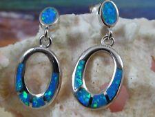 CUTE STERLING SILVER BLUE OPAL DOOR KNOCKER DANGLE POST EARRINGS