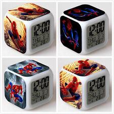 Marvel Avenger Spiderman 7 Couleurs LED Nuit Lumière Numérique Horloge Réveil A