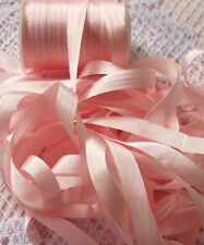"""New listing 100%Silk Embroidery Ribbon 1/4""""[7Mm] ~ Peachy/Pink ~ 10 Yds"""