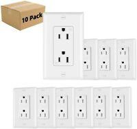 10Pack Outlet Socket, Decora Duplex Receptacle 15 Amp, 125 Volt Tamper Resistant