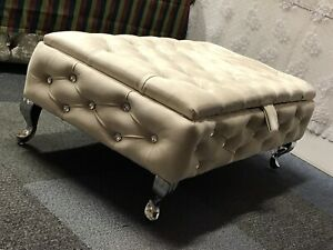 large Cream ottoman storage box With Legs