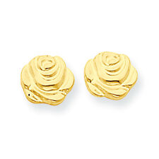 14K Yellow Gold Flat Rose Flower Stud Earrings Push Back Madi K Child's Jewelry