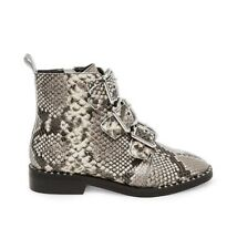 Steve Madden 9 Black White Snake Skin Recharge Leather Natural Snake Boot
