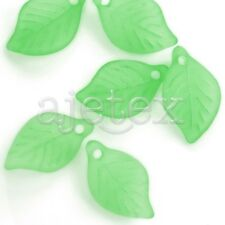 69pcs Green Leaf Acrylic Beads  Pendants  DIY 18x11x3mm AR0270