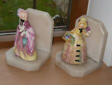 PAIR OF ALABASTER BOOKENDS WITH PORCELAIN VICTORIAN LADIES FIGURINES - Good Cond