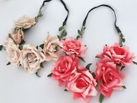 Women Rose Flower Girl Boho Party Wedding Crown hair head band headband Garland