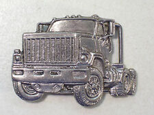 VINTAGE SEMI TRUCK SILVER TONE BELT BUCKLE MADE IN USA, TRUCKER