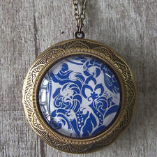 Chinese Blue & White Porcelain Pattern Brass Picture Locket Pendant Necklace