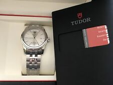 Tudor Stainless Date-Day 39MM Silver dial Glamour Box & PAPERS NIB $2,650 RETAIL