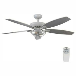 Connor 54 in. LED Matte White Dual-Mount Ceiling Fan with Light Kit and Remote C