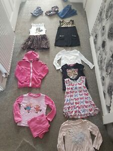Girls clothes bundle age 4-5 years leopard  minnie mouse jeans hoodie clangers