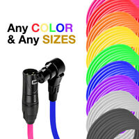 3-Pin XLR Male to Right Angle Female Balanced Cable - Custom Length, Color Cord