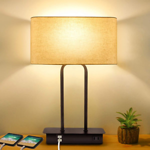 3-Way Dimmable Touch Control Table Lamp with 2 USB Ports and AC Power Outlet Mod