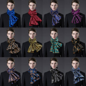 Mens Silk Scarves Tie Set Long Black Blue Red Purple Paisley Scarf Shawls Wrap
