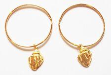 Ohrringe, Ohrhänger, golden goldfarben, Creole, Muschel Anhänger