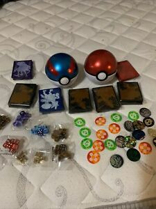 Pokemon TCG Elite Trainer Box Accessories Lot Mint, Sleeves, Dice, Coins, Etc.