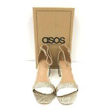 Nuevos Zapatos Brillo Oro UK5 Asos formal y Correa en el Tobillo Peep Toe Bloque Talón 182150