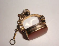 Large Antique Victorian 10k gold agate pocket watch fob seal chatelaine