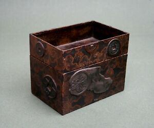 ANTIQUE JAPANESE LACQUER & GOLD BROCADE BOX IMPERIAL MON CREST COINS