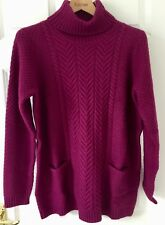 NEW GRAPE WOOL-MIX CABLE ROLL-NECK SWEATER/JUMPER SIZE 14 - TULCHAN
