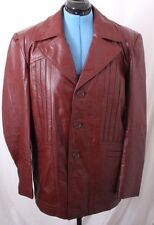 Montgomery Ward MW Vtg Red Leather Button Up Fight Club Jacket Coat Women's 44R