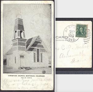 Berthoud Colorado 1908 Cancel PostCard Church Horn's ASH Photo RARE Early View
