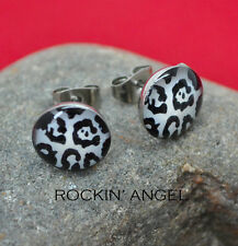 White Leopard Stud Earrings - Stainless Steel - Ladies Girls Gift, In a Gift Bag