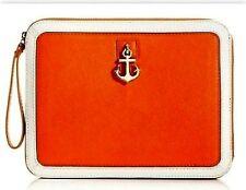 Juicy Couture ytrut283 Orange Leni Charm Leather Ipad Zip Case Anchor Charm