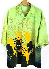 DELF Button Front Green Camp Shirt Urban Hip Hop USA  Mens 2XL
