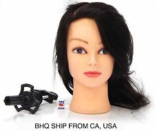 100% REAL HAIR HAIRDRESSING SALON PRACTICE TRAINING HEAD + MANNEQUIN CLAMP