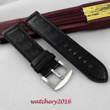 PARNIS 23mm black Leather Watch Strap fit boat mens Watch