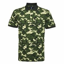 Mens Military Combat Camouflage Army Print Casual Polo Shirt T-Shirt Top S–3XL