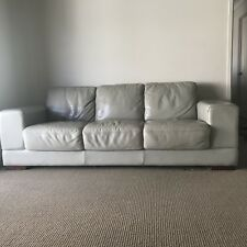 2x Plush genuine Leather 3 Seater Couches