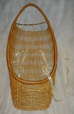 """HUPA 32"""" WOVEN WILLOW BABY BASKET, EARLY 20TH C., GOOD w/TLC, BEADS & SHELLS!"""