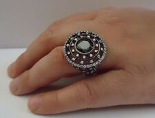VINTAGE DESIGN RING W/ 5.50 CT BLK/WHT LAB DIAMONDS/ SZ 7,8,9 / STERLING SILVER