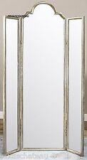 FRENCH GLAM ~ SILVER LEAF DRESSING MIRROR ~ TRI FOLD 3 PANEL FULL LENGTH VANITY