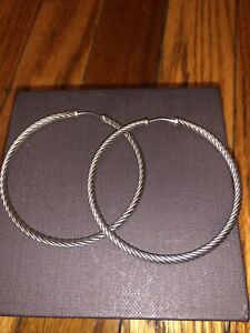 """David Yurman Sterling Silver 925 Large 2"""" inch Classic Cable Hoop Earrings"""