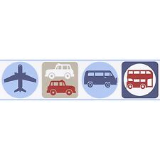 TRANSPORT SELF-ADHESIVE WALLPAPER BORDERS (8957-14) NEW CARS BUSES PLANES