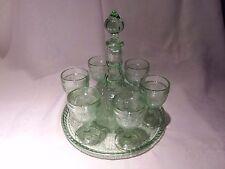 Vintage Tiara Indiana Glass Chantilly Green Sandwich Decanter Set 9 Pieces Mint!