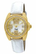 New Ladies  Invicta 1116 Wildflower Swiss White MOP Dial Leather Crystal Watch