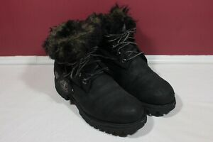 TIMBERLAND  Waterproof Leather Boots With Fur Trim Sz Womens 8.5M Black