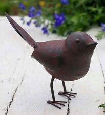 Charming Unique Rustic Green Rust Metal Songbird Garden Pathway Bush Ornament