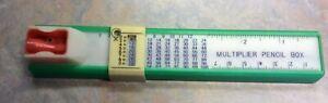 Vintage Green Pencil Ruler Multiplier Sharpener With Pencil Storage Box