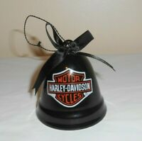 2008 HARLEY-DAVIDSON MOTORCYCLES logo Black Ceramic Bell Christmas Ornament