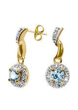 delicato Orecchini a farfalla con topazio blu e diamante, argento dorato