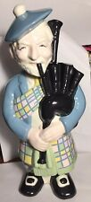 Vintage Rum Bottle Ceramic Figure Scottish Playing bagpipes Blue Black 12in tall