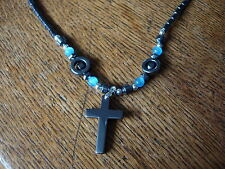 christian cross magnetic pendant with blue cats eye beads cc10