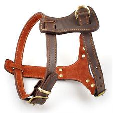 18-22'' Brown Leather Pet Dog Harness For Medium Large Dogs Pitbull Bulldog