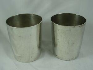 RARE pair, PORTUGUESE silver BEAKERS, c1810, 376gm
